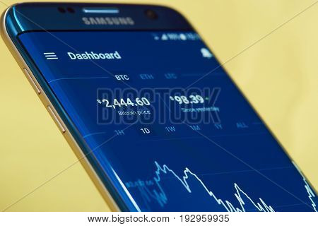 New york, USA - June 27, 2017: Exchange rate of crypto currency on screen of mobile application coinbase