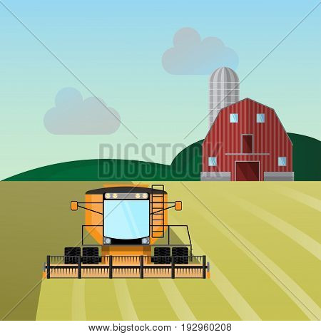 Combine-harvester a vector illustration isolated on white background.