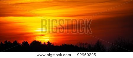 Panoramic image of a colorful sunrise in Wisconsin