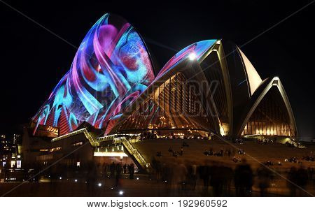 Sydney Australia - Jun 15 2017. Sydney Opera House illuminated with colourful light design imagery during the Sydney Vivid show. Free annual outdoor event of light music and ideas.