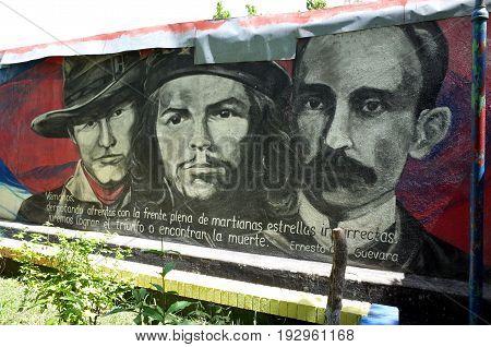 25Th August 2014, Esteli, Nicaragua - A Sandinista Mural Of Famous Socialist Revolutionaires In Este