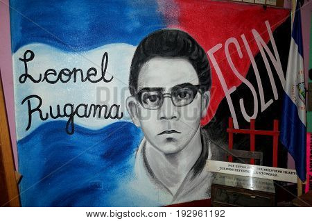 25Th August 2014, Esteli, Nicaragua - A Sandinista Mural Of Leonel Gugama In Esteli Showing The Stro