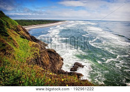 A stunning view of the pacific northwest coastline looking south from Cape Disappointment state park in Washington USA.