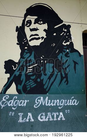 31St August 2014, Leon, Nicaragua - A Sandinista Mural Of Edgar Munguia In Leon Showing The Strong S