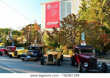 Victoria BC,Canada,July 24th 2016.Classic cars lined up on the streets of Victoria BC,in front of the BC Museum during the classic car show.