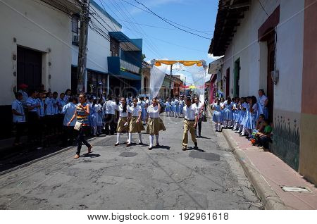 24Th September 2014, Leon, Nicaragua - School Chidlren March Through The Street To Celebrate The Fes