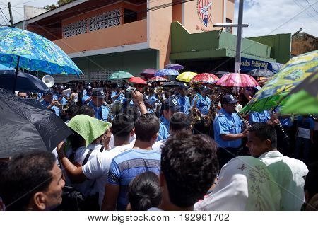 24Th September 2014, Leon, Nicaragua - The Police Band Marching Through The Streets To Celebrate The