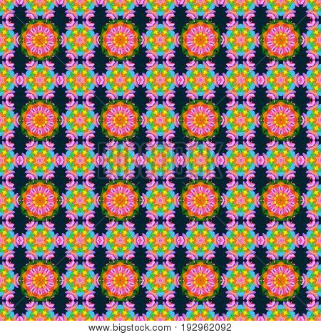 Motley vector illustration. Seamless exotic pattern with many pink tropical flowers. Blooming jungle.