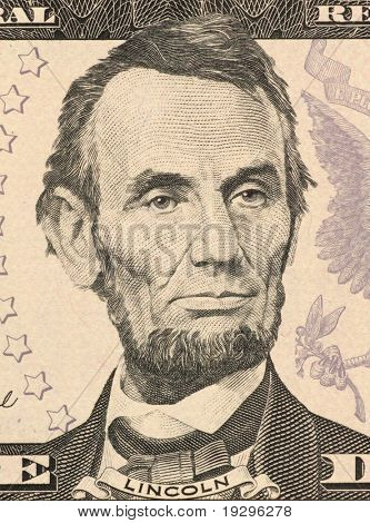 USA - CIRCA 2006: Abraham Lincoln on 5 Dollars 2006 Banknote from U.S.A. 16th President of the United States from March 1861 until his assassination in April 1865.