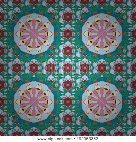 Background. Tiled mandala design best for print fabric or papper and more. Boho style flower seamless pattern. Vector Mandala.