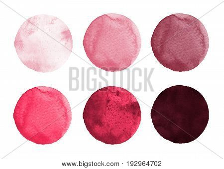 Set of colorful watercolor hand painted circle isolated on white. Watercolor Illustration for artistic design. Round stains blobs of rose carmine red burgundy color