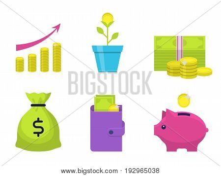 Money flat icons set. Modern icons with money, coins, moneybox piggy and wallet. Interface elements in flat design. Bank and commerce vector illustration isolated on white background.