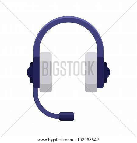 Headphones flat icon. Headset device, audio equipment symbol. Internet icon in cartoon style. Web and mobile design element. Vector colored illustration isolated on white background