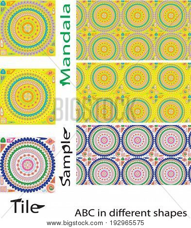 Seamless mandalas pattern. Vintage decorative elements with mandala. Hand drawn mandala background. English European alphabetic mandala American mandala ottoman motifs. Perfect for printing on fabric or paper.