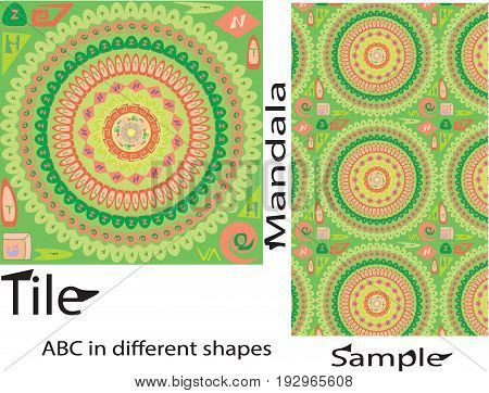 Vector Seamless different unique shapes with english alphabets Mandala Pattern. Seamless pattern for your designs invitation card yoga meditation astrology and other wrapped projects. Fabric Mandala Pattern. Pattern in swatches panel.