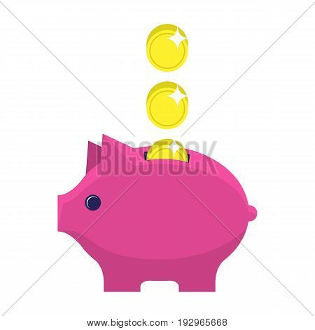 Money box flat icon. Pig piggy bank with coin. Money savings, save money, budget, finance symbol. Web and mobile design element. Vector colored illustration isolated on white background