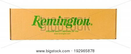 Winneconne WI -17 June 2017: A box of a Remington gun on an isolated background