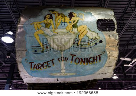 Oshkosh WI - 3 March 2017: A piece of nose art from WWII aircraft featuring Target for Tonight