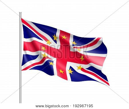 The United Kingdom national waving flag with a circle of European Union twelve gold stars, ideals of unity with EU, member since 1 January 1973. Realistic vector illustration