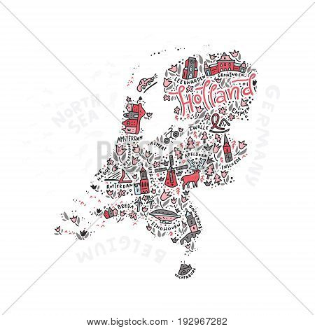 Illustration of Holland Map made in vector.