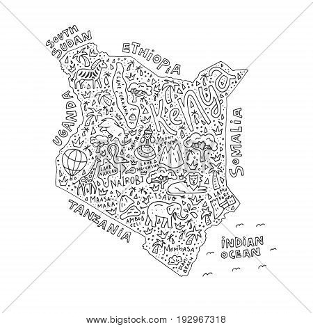 Illustration of Kenya map for coloring book with black outline.