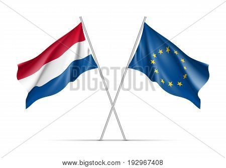 Netherlands and European Union waving flags on flagpole. EU sign with twelve gold stars on blue and Netherlands national symbol red, white and blue colors. Two flags isolated on white background