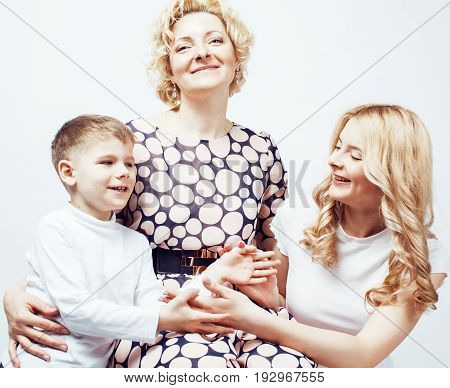 happy smiling family together posing cheerful on white background, lifestyle people concept, mother with son and teenage daughter isolated close up