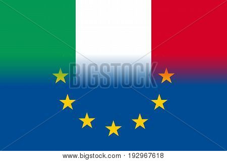 Italy national flag with a flag of European Union twelve gold stars, symbol of unity with EU, member since 1 January 1958. Vector flat style illustration