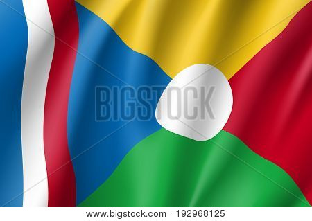 Waving flag of La Reunion. Symbol african state in proportion correctly and official colors. Patriotic sign Eastern Africa country. Vector icon illustration