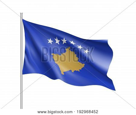 Waving flag of Kosovo. Illustration of Europe country flag on flagpole. Vector 3d icon isolated on white background