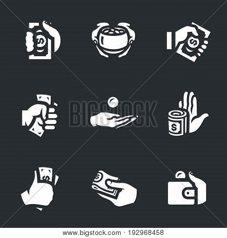 Hands, gold pot, banknote, coin, money, refusal, purse.