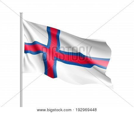 Waving flag of Faroe Islands. Illustration of Europe country flag on flagpole. Vector 3d icon isolated on white background