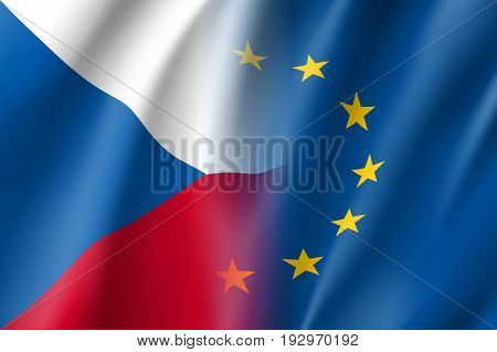 Symbol of Czech republic is EU member. European Union sign with twelve gold stars on blue and Czech republic national flag. Vector isolated icon