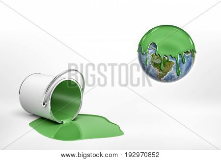 3d rendering of a overturned green paint bucket lying beside an Earth globe half covered in green paint. Ecological problems. Green living. Attention to nature.
