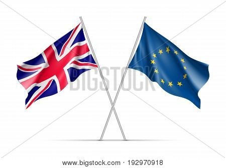 The United Kingdom and European Union waving flags on flagpole. EU sign with twelve gold stars on blue and The United Kingdom national symbol. Two flags isolated on white background