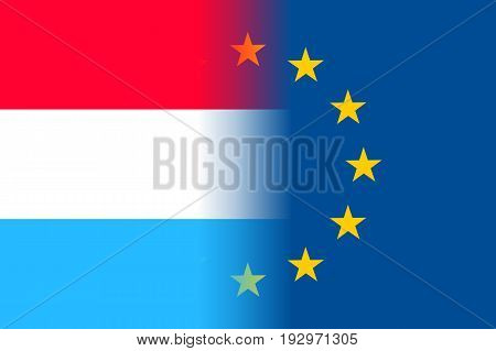 Luxembourg national flag with a flag of European Union twelve gold stars, political and economic union, EU member since 1 January 1958. Vector flat style illustration