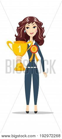 Happy woman holding winner golden cup over white background. Stock vector illustration