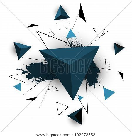 Blue triangle abstract on white background, stock vector