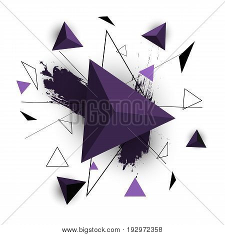 Purple triangle abstract on white background, stock vector
