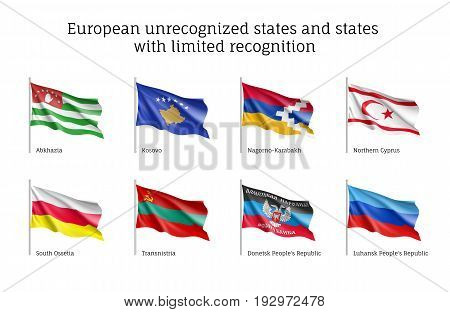 European unrecognized and with unlimited recognition states waving realistic flags, Abkhazia, Kosovo, Nogorno Karabakh, Northern Cyprus, South Ossetia, Transnistria, Donetsk, Luhansk people's republic