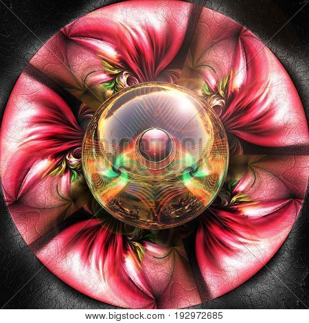 3D render of colorful plastic red fractal flower disc embossed on leather with glossy duo button