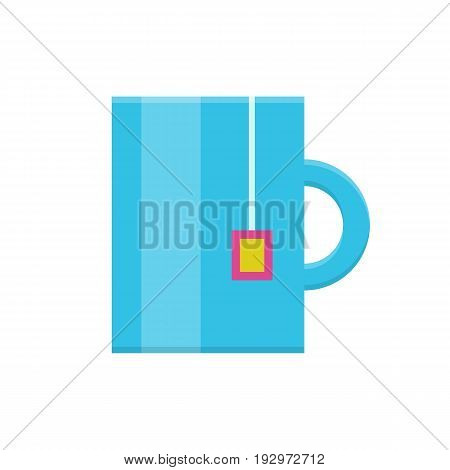 Tea mug flat icon. Blue mug with tea bag pocket, lunch time in the office, coffee break. Vector flat style cartoon illustration isolated on white background. Business concept