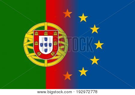 Portugal national flag with a flag of European Union twelve gold stars, symbol of unity with EU, member since 1 January 1986. Vector flat style illustration