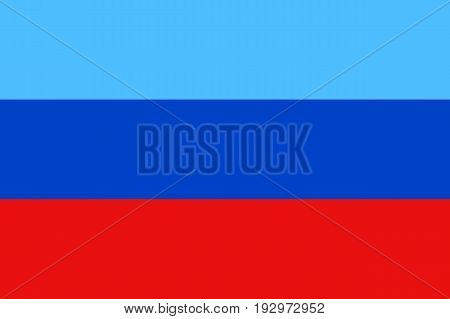 Luhansk People's Republic flag, landlocked self-proclaimed state in eastern Ukraine, blue, navy and red tricolor, state emblem. Vector flat style illustration