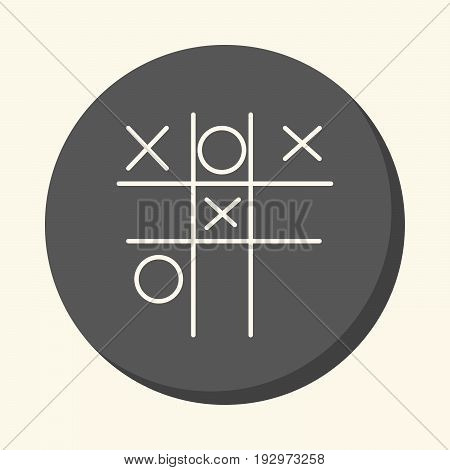 Children's game Tic-Tac-Toe vector round icon with the illusion of volume simple color change