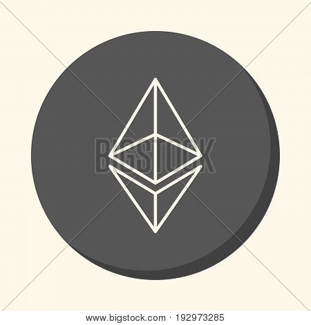 Modified symbol of digital crypto currency Ethereum vector round icon with the illusion of volume simple color change