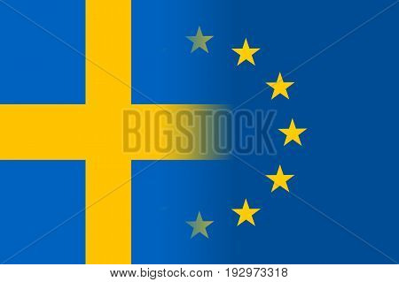 Sweden national flag with a flag of European Union twelve gold stars, symbol of unity with EU, member since 1 January 1995. Vector flat style illustration