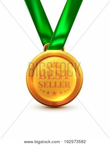 Gold Medal Best Seller.vector Illustration Of Winner Or Award Concept Isolate On White Background.