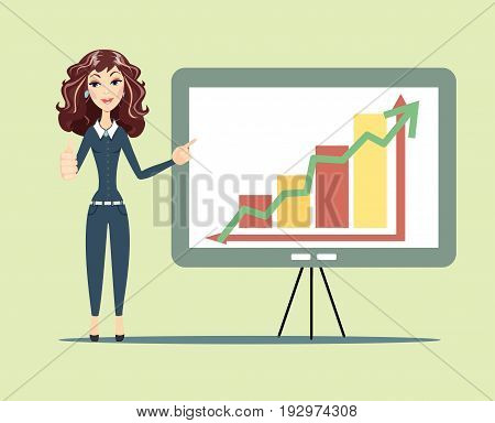 Hipster business woman character, standing with strategy presentation income charts. Stock vector illustration