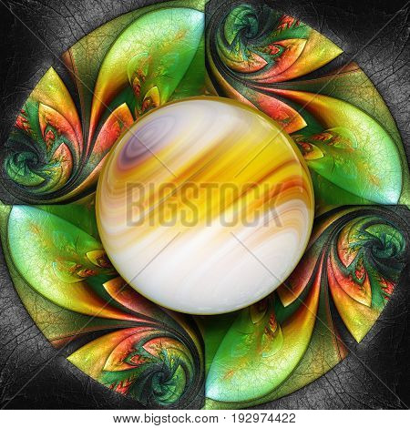 3D render of colorful plastic fractal colorful flower disc embossed on leather with glossy sun color gradient button